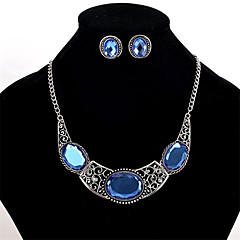 cheap Jewelry Sets-Women's Crystal Crystal Jewelry Set 1 Pair of Earrings / Necklace - Personalized / Euramerican Geometric Blue Necklace / Earrings For