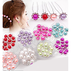 20 PCS Bride's Flower Shape Rhinestone Pearl Wedding Hair Clip Accessories Jewelry