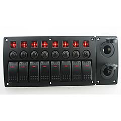 billiga Bildelar-iztoss röd lysdiod DC12 / 24V 8 gang on-off rocker växla böjd panel 2 st eluttag och strömbrytare med etikett klistermärken för båt marina