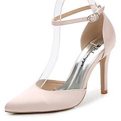 Damen-Sandalen-Hochzeit Outddor Büro Kleid Party & Festivität-Seide-Stöckelabsatz-D'Orsay und Zweiteiler Club-Schuhe-Weiß Schwarz Leicht