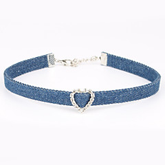 Women's  Denim  Choker Necklaces Rhinestone Heart Rhinestone Fabric Unique Design Classic Jewelry ForWedding Special Occasion Gift Daily Casual