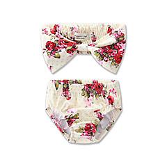 billige Badetøj til piger-Pige Blomster Rosette Blomstret Trykt mønster Badetøj, Bomuld Polyester Guld