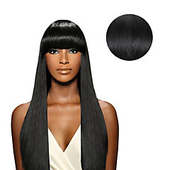 % 100 insan saçı 18inch 14 inç saç uzatma 7 adet / dizisi # 1 jet siyah klip