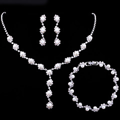 cheap Women's Jewelry-Women's Pearl / AAA Cubic Zirconia Jewelry Set - Fashion Include Bracelet / Pearl Necklace White For Wedding / Party / Engagement