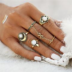 billige Motering-Dame Ring Ringer Set - Opal Blomst, Anker Geometrisk, Unikt design, Vintage En størrelse Gull / Sølv Til Julegaver Bryllup Fest / 5pcs