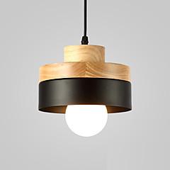 billiga Dekorativ belysning-norra europa enkelhet modernt trä hängande ljus metall skugga vardagsrum matsal cafe belysning