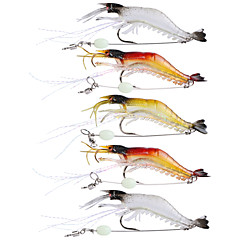 "5 pcs Soft Bait Fishing Hooks Fishing Lures Jerkbaits Craws / Shrimp Soft Bait Multicolored Transparent g/Ounce,90 mm/3-1/2"" inch,Soft"