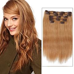 % 100 insan saçı 18inch 14 inç saç uzatma 7 adet / renk 27 çilek sarı kirli sarı klip