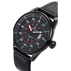 cheap Men's Watches-NAVIFORCE Men's Wrist Watch / Sport Watch Calendar / date / day / Cool PU Band Luxury / Casual / Fashion Black / Brown