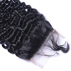 billiga Peruker och hårförlängning-Brasilianskt Klassisk Sexigt Lockigt 4x4 Stängning Schweizisk spetsperuk Äkta hår Fria delen Mittparti 3 Del Hög kvalitet Dagligen