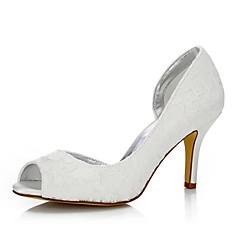 baratos Sapatos de Casamento-Mulheres Sapatos Seda Primavera / Verão Conforto / Sapatos clube / Sapatos Dyeable Sapatos De Casamento Salto Agulha Ponta Redonda / Peep