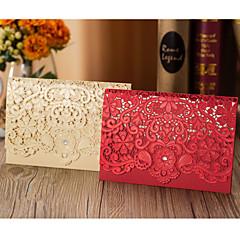 Dobrado no Topo Convites de casamento 50-Cartões de convite Estilo Flôr Papel Cartão Flor Adornos