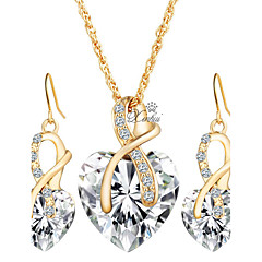 Women Crystal Heart Necklace Earrings Jewellery Set Gold Plated Jewelry Sets For Bridal Wedding Accessories(NecklaceEarrings)