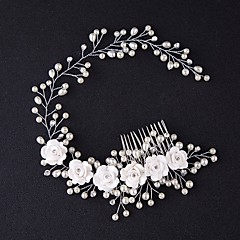 cheap Party Headpieces-Tulle Tiaras Hair Combs Flowers with Feather 1 Event/Party Headpiece