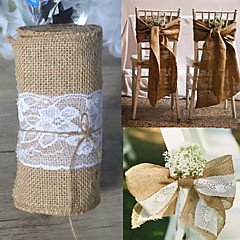 15*275cm Natural Jute Burlap Hessian Bowknot Ribbon With Pretty Flower Lace Chair Cover Wedding Party Decoration