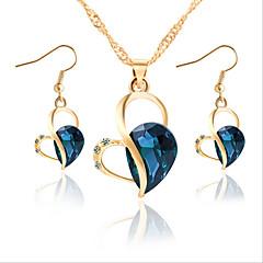 tanie Zestawy biżuterii-Damskie Cyrkonia Cyrkonia Kryształ górski Serce Biżuteria Ustaw 1 Naszyjnik 1 parę kolczyków - Klasyczny euroamerykańskiej Modny Godny