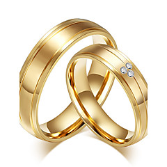 cheap Rings-Couple's Ring Band Ring AAA Cubic Zirconia Gold Cubic Zirconia Titanium Steel 18K Gold Round Vintage Fashion Simple Style Wedding Party