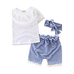 billige Tøjsæt til piger-Baby Pige Blonde / Pænt tøj Mode / Blonde Kortærmet Normal Normal Bomuld Tøjsæt Hvid 100