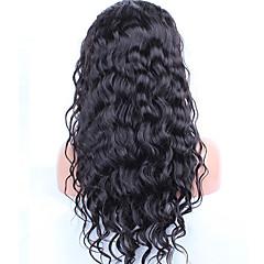 levne Paruky z přírodních vlasů-Přírodní vlasy Se síťovanou přední částí Paruka Velké vlny 120% Hustota Přírodní vlasová linie / Afroamerická paruka / 100% ručně vázaná Dámské Krátký / Střední / Dlouhý Paruky z přírodních vlasů