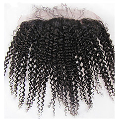 billiga Peruker och hårförlängning-Brasilianskt Klassisk Sexigt Lockigt 2x13 Frontal Fransk spets Äkta hår Fria delen Mittparti 3 Del Hög kvalitet Dagligen