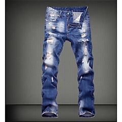 Herren Street Schick Mittlere Hüfthöhe Mikro-elastisch Lose Jeans Hose,Baumwolle Frühling Ganzjährig Solide
