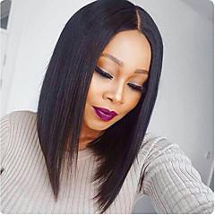 billiga Peruker och hårförlängning-Remy-hår Hel-spets Peruk Rak Yaki 130% Densitet 100 % handbundet Afro-amerikansk peruk Naturlig hårlinje Korta Mellan Lång Dam Äkta