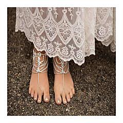 女性 アンクレット/ブレスレット 人造真珠 ラインストーン 合金 ファッション 手作り ドロップ ジュエリー のために 日常 カジュアル 1枚