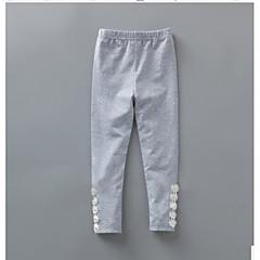 billige Bukser og leggings til piger-Pige Bukser Ensfarvet, Bomuld Forår Sommer Stribet Orange Grå Gul