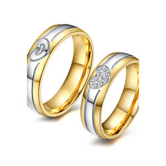カップル用 カップルリング キュービックジルコニア ファッション 愛らしいです Elegant キュービックジルコニア チタン鋼 18K 金 円形 ジュエリー 用途 結婚式 パーティー 婚約 日常 式典