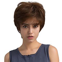 billige Lågløs-Human Hair Capless Parykker Menneskehår Lige Klassisk Høj kvalitet Maskinproduceret Paryk Daglig