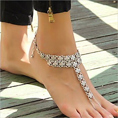 Women's Retro Coin Flower Pattern Female Exaggerated Chain Anklet Summer Style Vintage Punk Jewelry For Casual