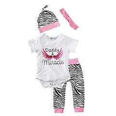 billige Sett med babyklær-Baby Pige Dyretryk Bomuld / Afslappet / Indendørs Dyr Kort Ærme Normal Normal Bomuld Tøjsæt Hvid 100