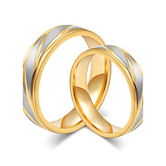 2PCS Couple's Rings Simple Style Elegant Rose Gold Titanium Steel Ring Jewelry For Wedding Anniversary Party/Evening Engagement Daily