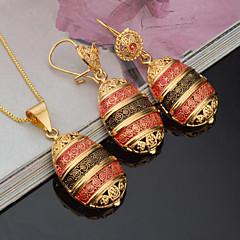 Kadın's Gelin Takı Setleri Yapay Elmas kostüm takısı Moda Euramerican Altın Kaplama Oval Shape Uyumluluk Parti Davet/Parti Günlük Düğün