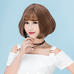 cheap Wigs & Hair Pieces-Synthetic Wig Straight Bob Haircut / With Bangs Synthetic Hair Brown / Gray Wig Women's Short Capless