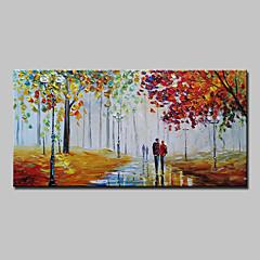 billiga Oljemålningar-Hang målad oljemålning HANDMÅLAD - Landskap Abstrakt / Moderna Utan innerram / Valsad duk