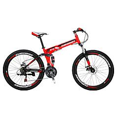 מתקפל אופניים אופני הרים רכיבת אופניים 21 מהיר 700CC/26 אינץ' Shimano דיסק בלימה כפול מזלג שיכוך שלדת פלדה קיפול מתלה אחורי רגילמתכת