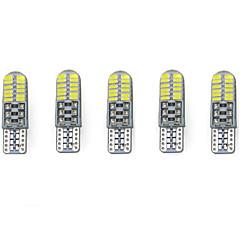 3w hvit dc12v t10 smd3014 24led canbus dekorativ lampe leselampe lisensplate lysdørlampe 5pcs