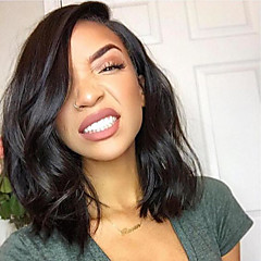cheap Human Hair Wigs-Human Hair Lace Front Wig Brazilian Hair Wavy Short Bob 130% Density With Baby Hair Glueless Natural Hairline Nature Black Short Medium