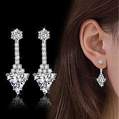 Women's Drop Earrings AAA Cubic Zirconia Fashion Vintage Elegant Silver Triangle Shape Drop Earrings Jewelry For Wedding Engagement Daily Party