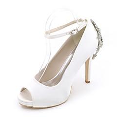 Women's Wedding Shoes Basic Pump Satin Spring Summer Wedding Party & Evening Rhinestone Stiletto Heel Ivory Champagne Blue Ruby Purple