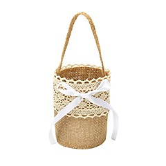cheap Flower Baskets-Wedding Bride Burlap Basket Flower Girl Basket Linen 9 7/8 (25 cm) Laces Flower(s) 1