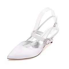 preiswerte Brautschuhe-Damen Schuhe Satin Frühling Sommer Komfort Pumps Knöchelriemen Hochzeit Schuhe Kitten Heel-Absatz Konischer Absatz Niedriger Heel
