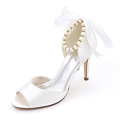 cheap Wedding Shoes-Women's Wedding Shoes Basic Pump Spring Summer Satin Wedding Party & Evening Imitation Pearl Stiletto Heel Ivory Champagne Blue Ruby