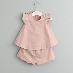 billige Tøjsæt til piger-Baby Pige Folder Ensfarvet Uden ærmer Normal Rayon Tøjsæt Grøn
