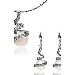 tanie Zestawy biżuterii-Damskie Kolczyki wiszące Naszyjnik Pearl imitacja Imitacja pereł Pozłacane Pokryte różowym złotem Kropla Modny Ślub Ukończenie szkoły