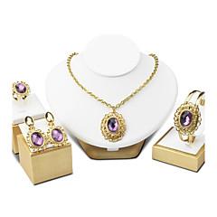 Mulheres Bracelete Brincos Compridos Colar Ametista Vintage Jóias de Luxo Elegant Cristal Formato Circular Para Casamento Noivado