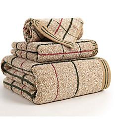 cheap Towels & Robes-Superior Quality Bath Towel Set, Plaid / Check 100% Cotton Bathroom 3 pcs