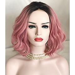 tanie Peruki syntetyczne-Syntetyczne koronkowe peruki Luźne fale Różowy Włosy syntetyczne Włosy ombre Różowy Peruka Damskie Krótki Koronkowy przód