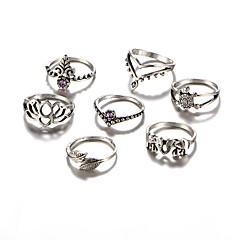 billige Motering-Dame Ring - Akryl, Legering Elefant, Blad Formet, Blomst Vintage, Rock, Mote En størrelse Sølv Til Daglig Avslappet Aftenselskap / 7pcs